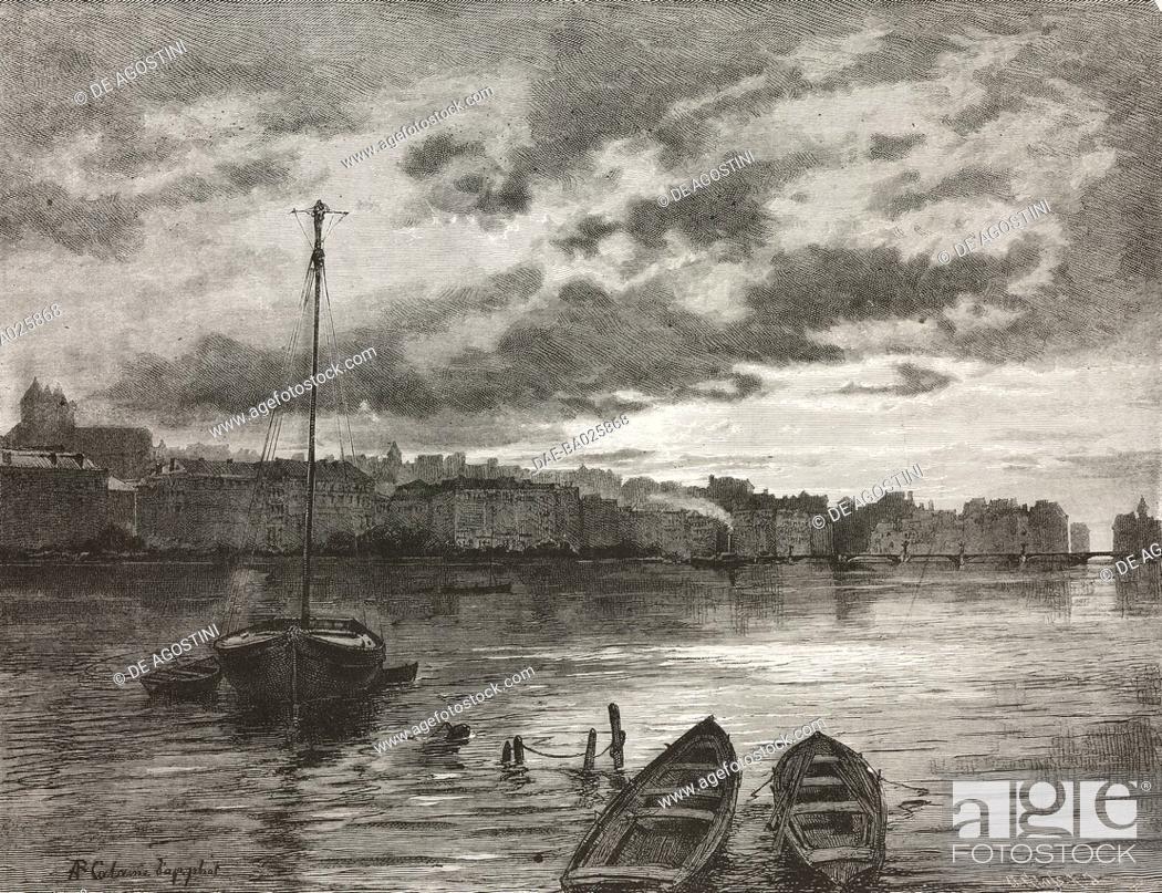 Stock Photo: View from Geneva lake, Switzerland, engraving from L'Illustrazione Italiana, Year 6, No 35, August 31, 1879.