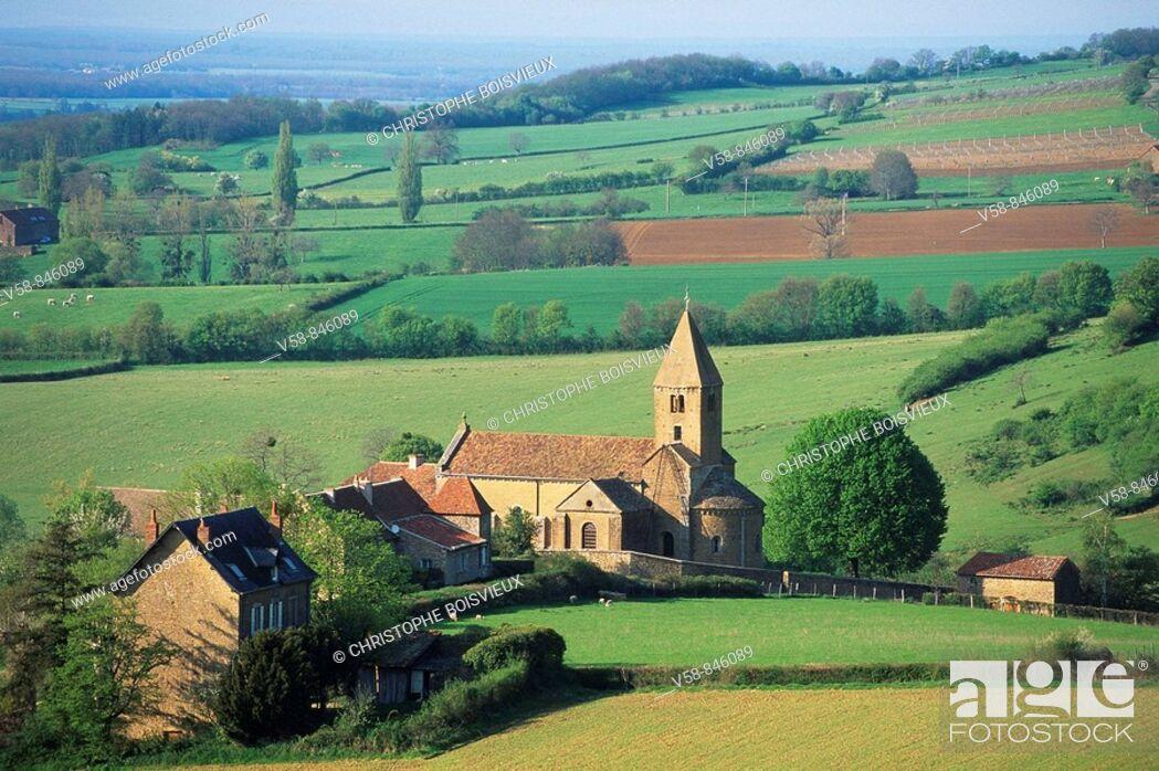 Stock Photo: Eglise Romane, La Chapelle sous Brancion, Saone et Loire, France.