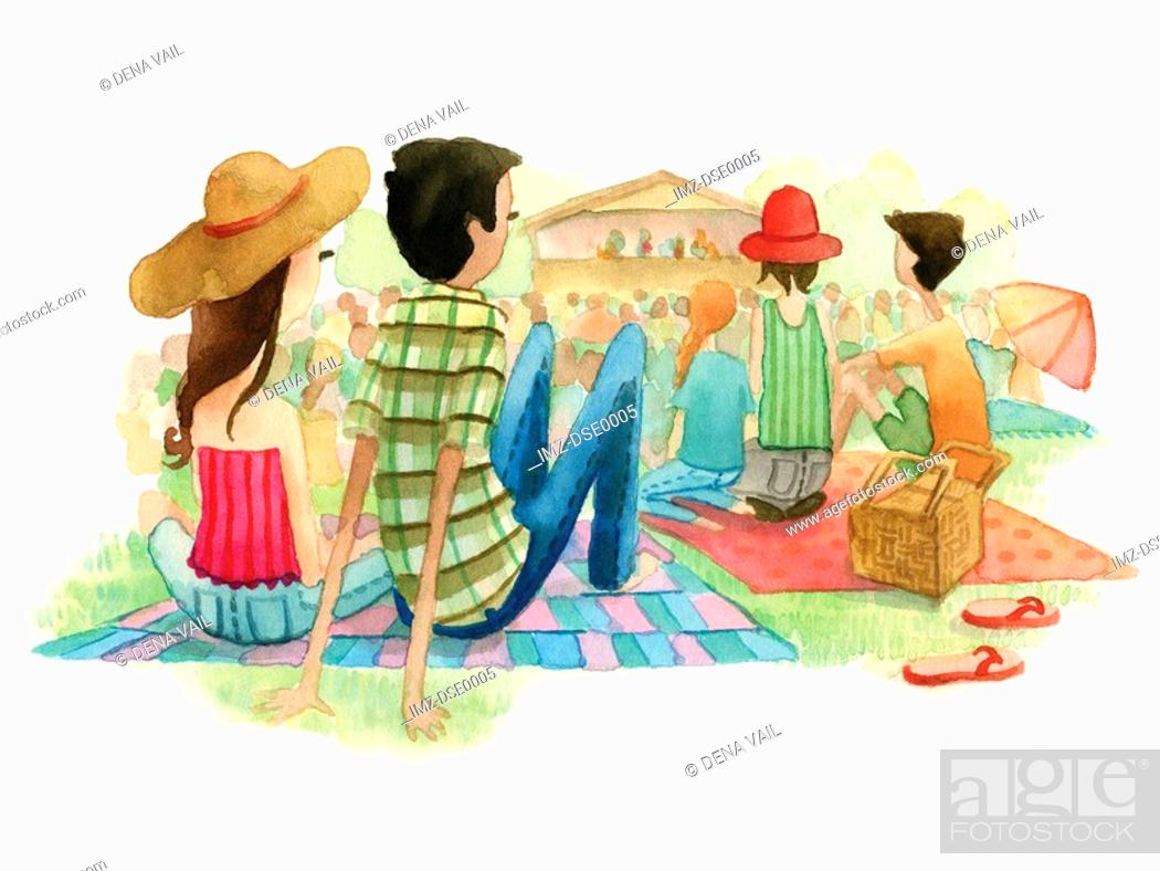 Stock Photo: A watercolor illustration of people at an outdoor music festival.