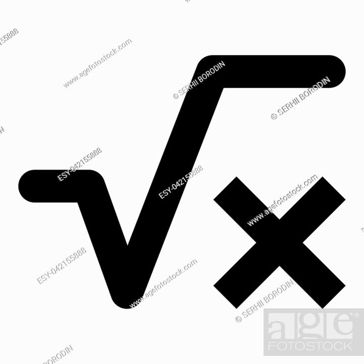 Vector: Square root of x axis icon black color vector illustration flat style simple image.