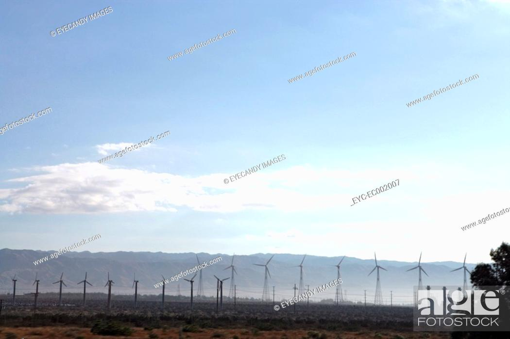 Stock Photo: View of several windmills.