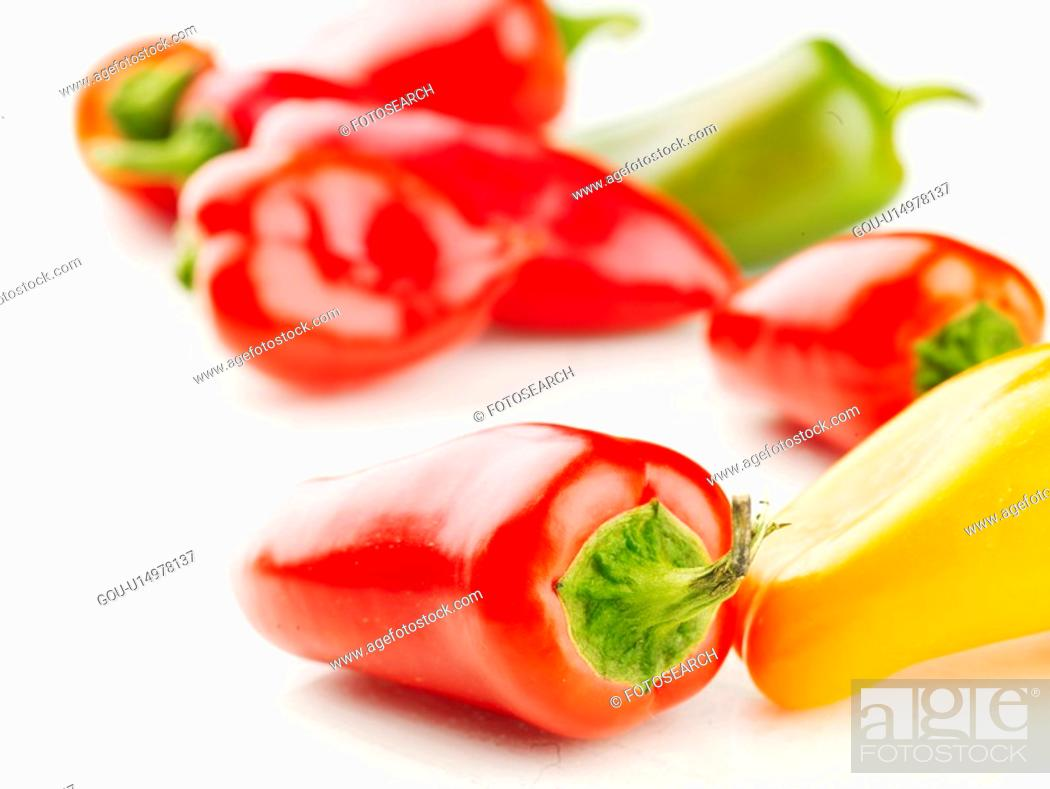 Stock Photo: cuisine, yellow pepper, food, hot pepper, green pepper, red pepper.
