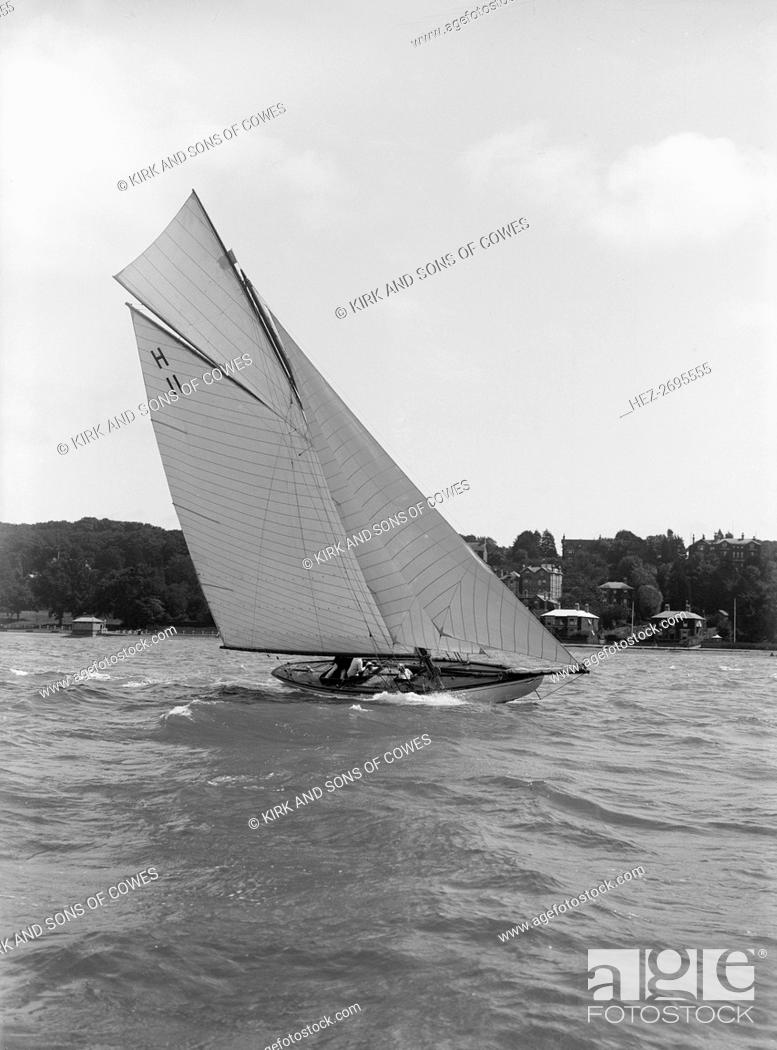 Ventana' (H11) an early 8 Metre class yacht sails close-hauled, 1914
