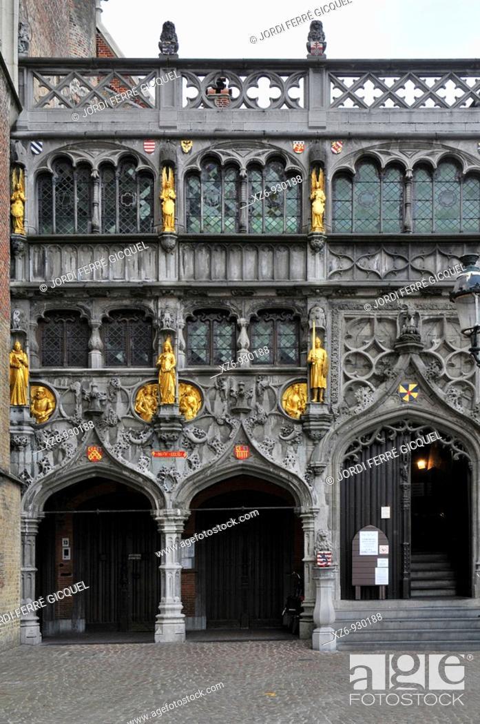Stock Photo: Basiliek van het Heilig Bloed Basilic of the Holy Blood, Burg square  Medieval town of Bruges, Belgium  Brugge.