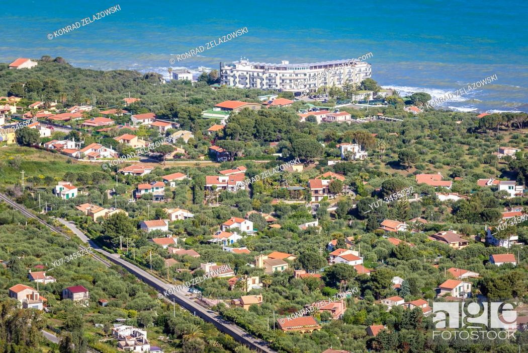 Stock Photo: Capo village near Cefalu city and comune in Metropolitan City of Palermo, located on the Tyrrhenian coast of Sicily, Italy - view with Hotel Lookea.