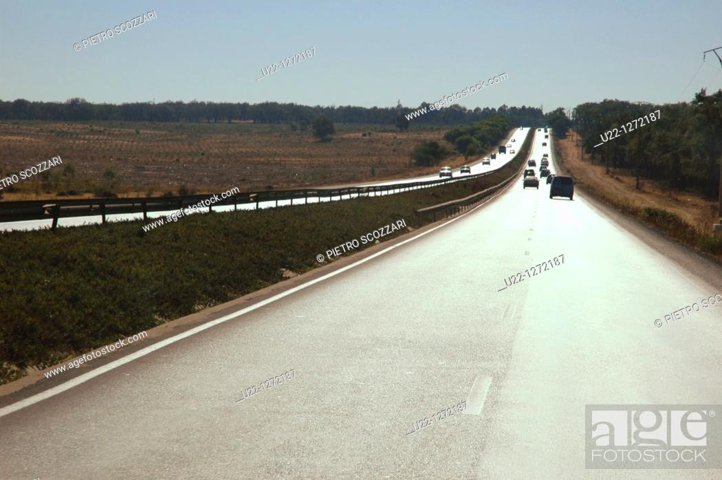 Stock Photo: near Volubilis (Morocco): the highway from the archaeological site to Fez.