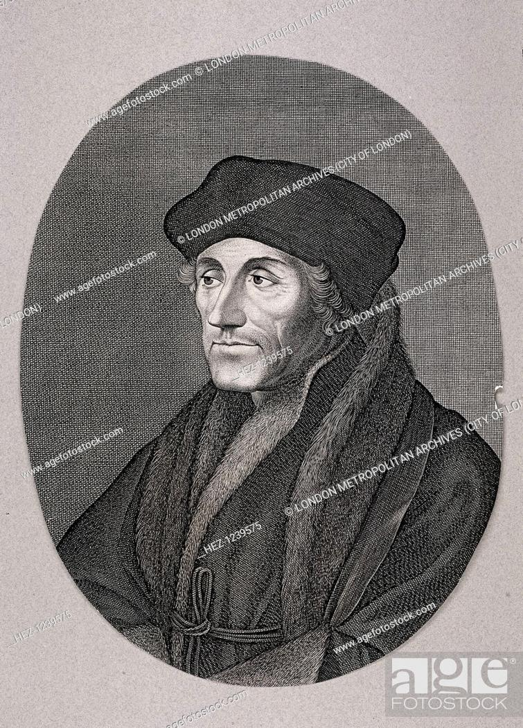 Stock Photo: Desiderius Erasmus, c1750. The philosopher Erasmus in square cap and fur trimmed robes.