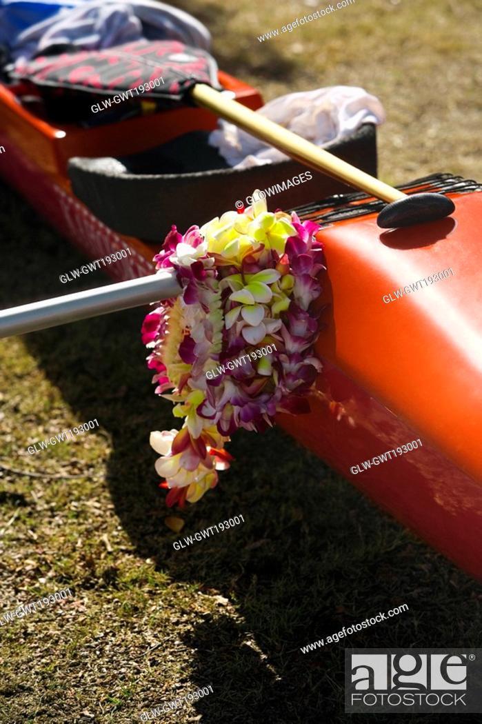 Stock Photo: Close-up of a kayak, Honolulu, Oahu, Hawaii Islands, USA.
