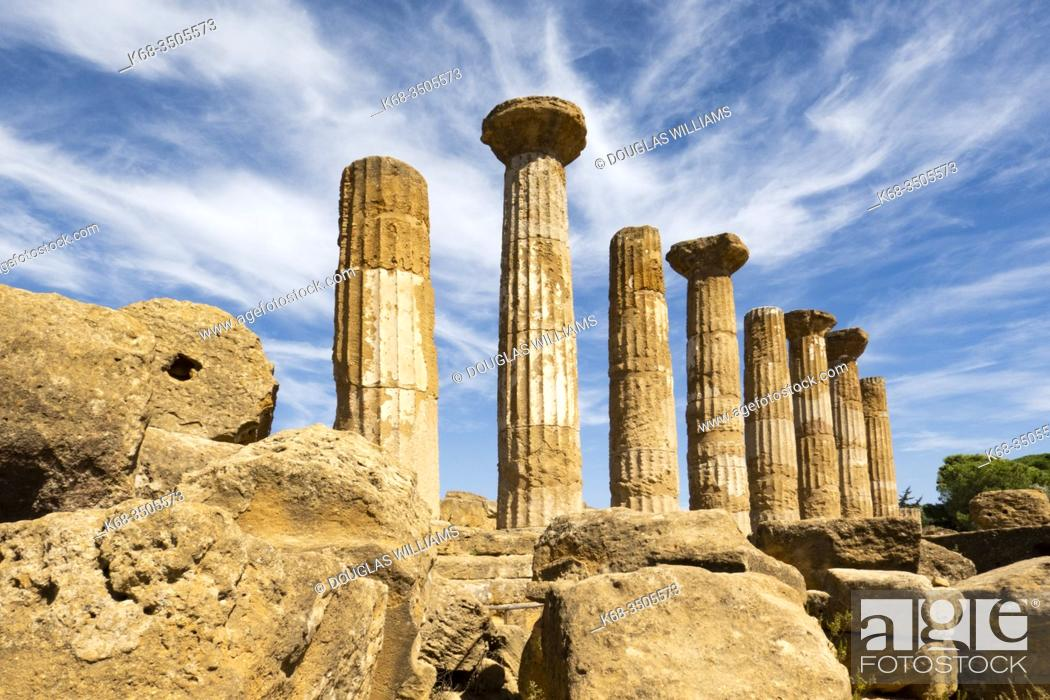Stock Photo: The Temple of Heracles or Hercules, in the Valle dei Templi at Agrigento, Sicily, Italy.