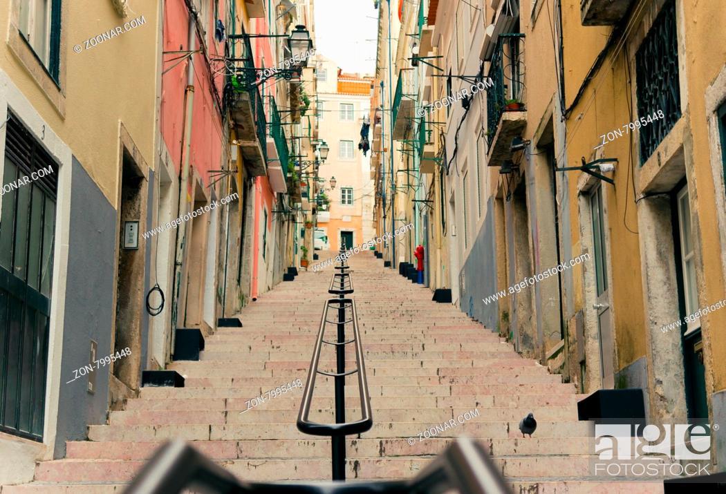 Stock Photo: LISBON, PORTUGAL- MARCH 23, 2013: Lisbon#39;s Gloria funicular classified in Bairro Alto in Lisbon, Portugal.