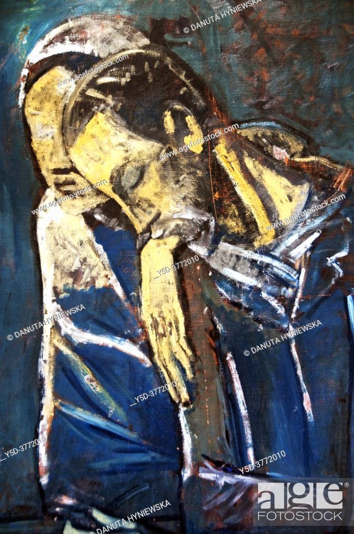Stock Photo: Pablo Picasso (1881-1973), Blue period, oil on canvas - Le couple ( Les Misérables) 1904, Fondation Pierre Gianadda, Martigny, Switzerland, Europe.