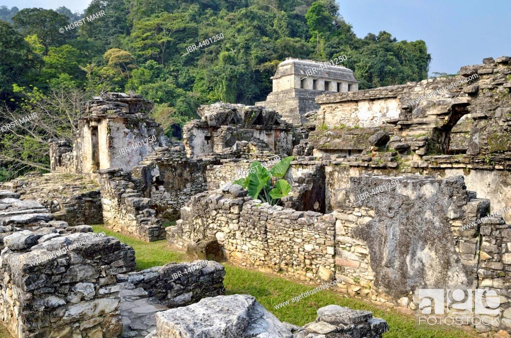 Stock Photo: El Palacio, partial view, Temple of Inscriptions behind, Mayan ruins of Palenque, Chiapas, Mexico.