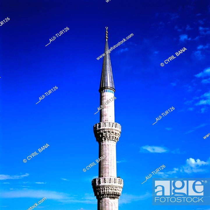 Stock Photo: Turkey - Istanbul - Sultanahmet District - The Blue Mosque - Minaret.