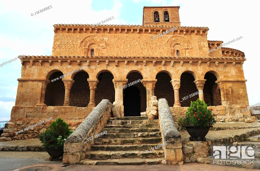 Stock Photo: San Esteban de Gormaz, San Miguel church (romanesque 11th century). Soria province, Castilla y Leon, Spain.