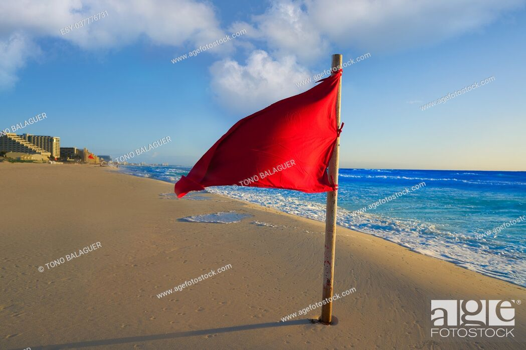 Stock Photo: Cancun Delfines Beach red flag in Mexico Hotel Zone.