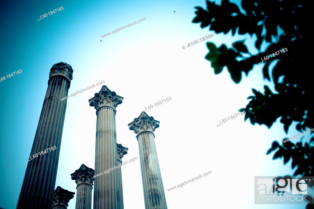 Stock Photo: Roman temple  Cordoba  Andalusia, Spain.