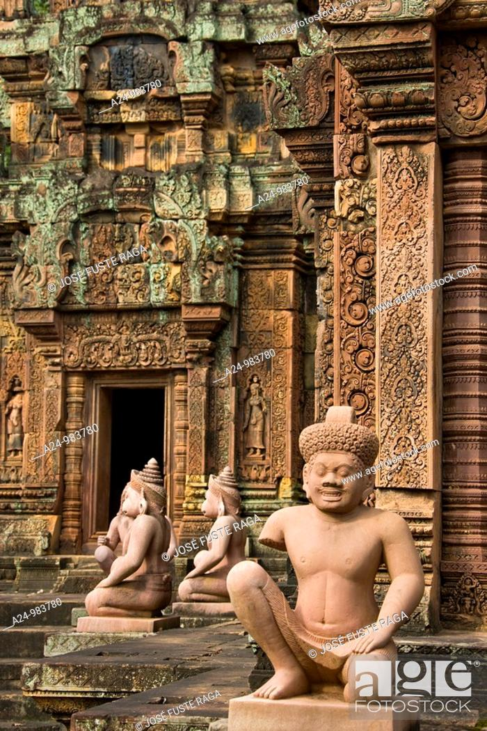 Stock Photo: Cambodia-No  2009 Siem Reap City Angkor Temples W H  Banteay Srei Temple Inner enclousure.