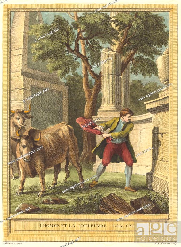 Stock Photo: L'homme et la couleuvre (Man and the Snake), published 1759. Creator: Benoit-Louis Prevost.