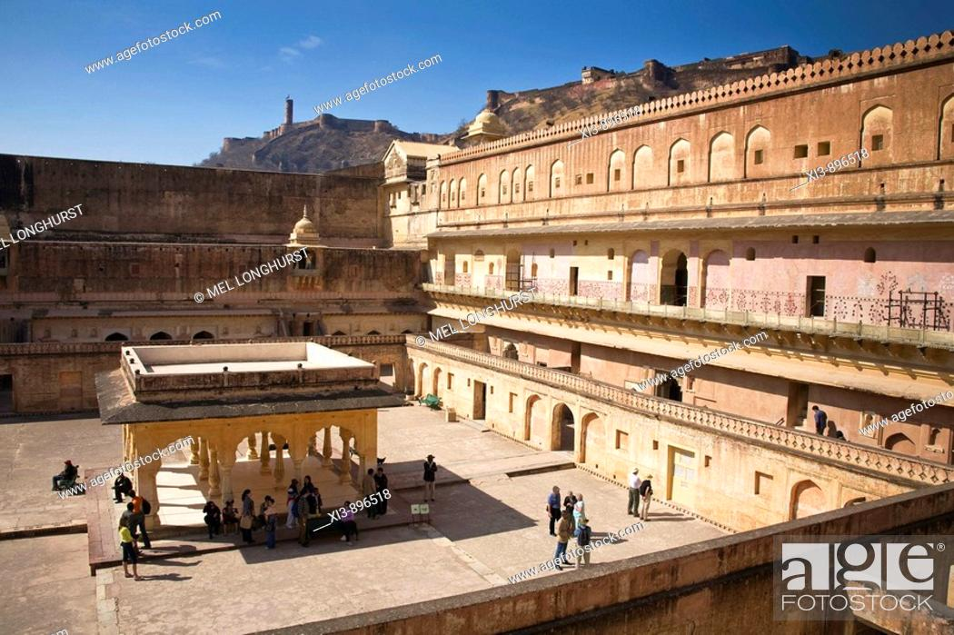 Stock Photo: Man Singh I Palace and courtyard, in the Amber Palace, also known as Amber Fort, Amber, near Jaipur, Rajasthan, India.