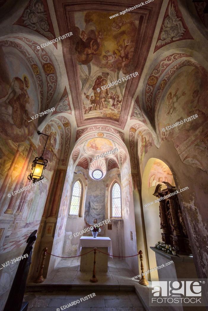 Stock Photo: Church of the castle Blejski grad, Bled, Slovenia.