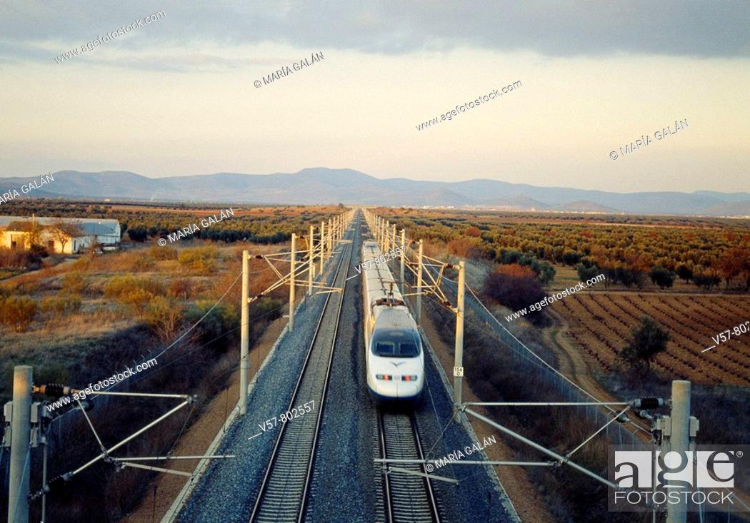 Imagen: AVE High-speed train Madrid-Sevilla traveling along La Mancha. Ciudad Real province, Castilla La Mancha, Spain.
