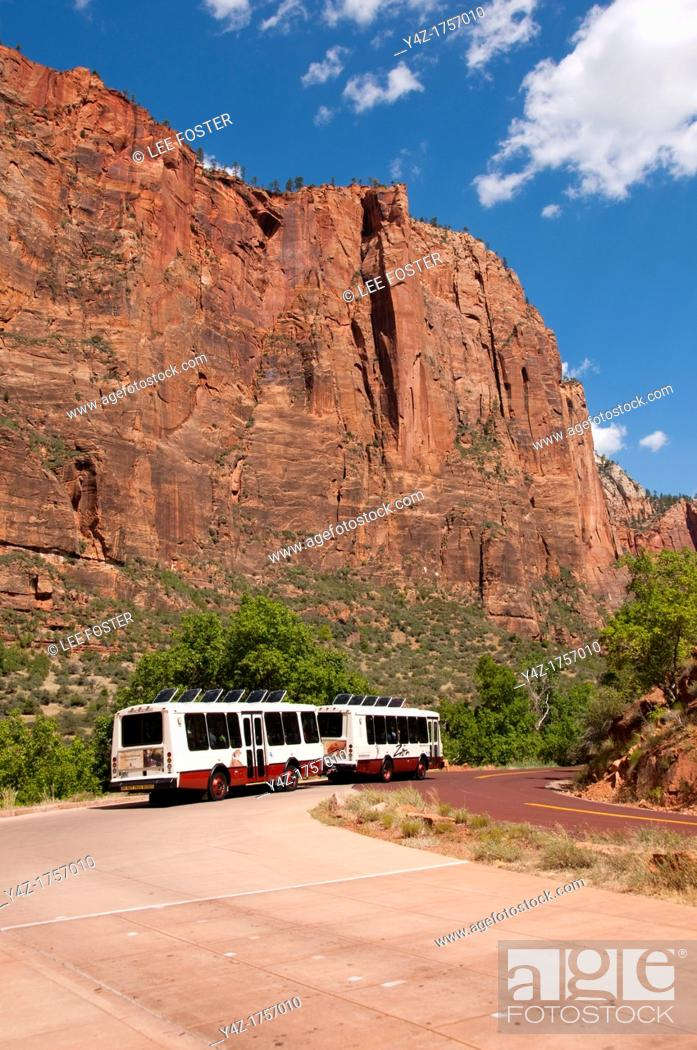 Stock Photo: USA Utah, Zion National Park  Public transportation park shuttles at Big Bend.