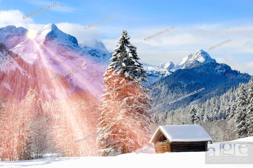 Stock Photo: Alp, winter scenery with Elmau in the mountains of Bavaria.
