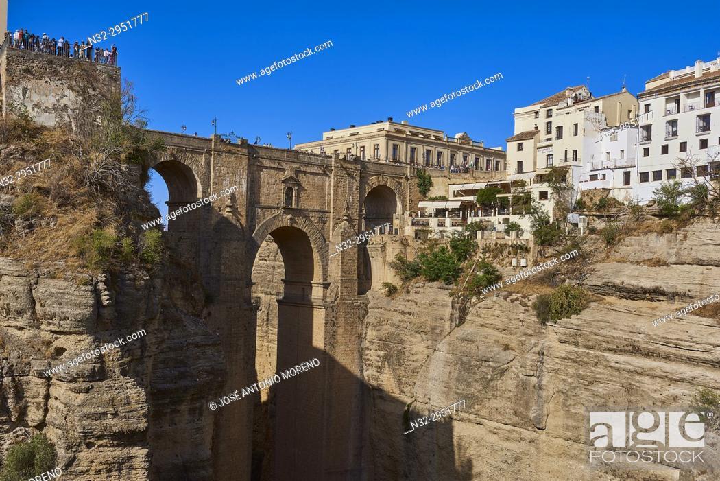 Stock Photo: New Bridge and town, Puente Nuevo, Tajo Gorge, Ronda, Malaga-province, Andalusia, Spain.