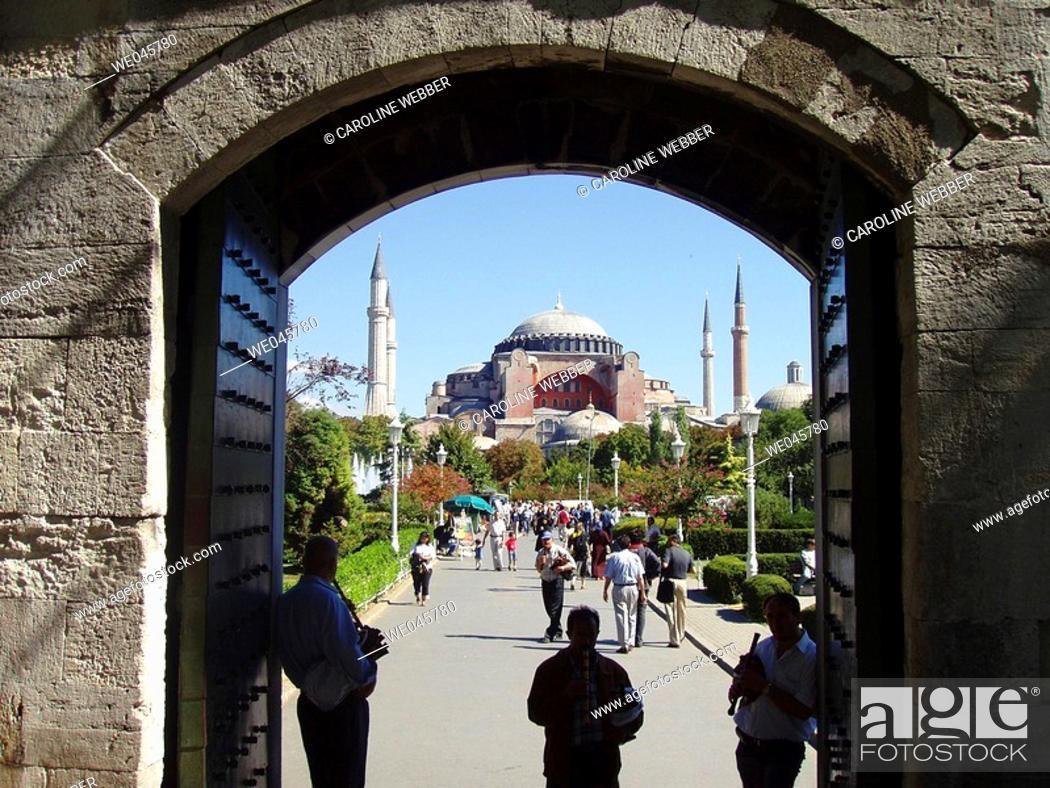 Stock Photo: Musicians outside Hagia Sofia Mosque.
