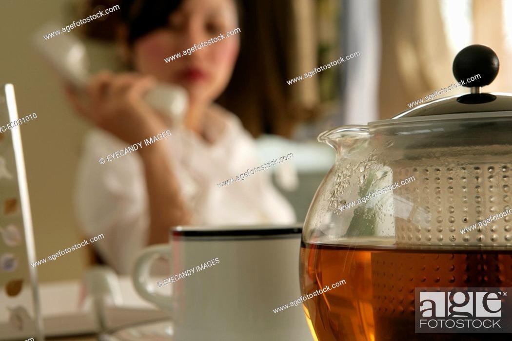 Stock Photo: Teapot, close-up.