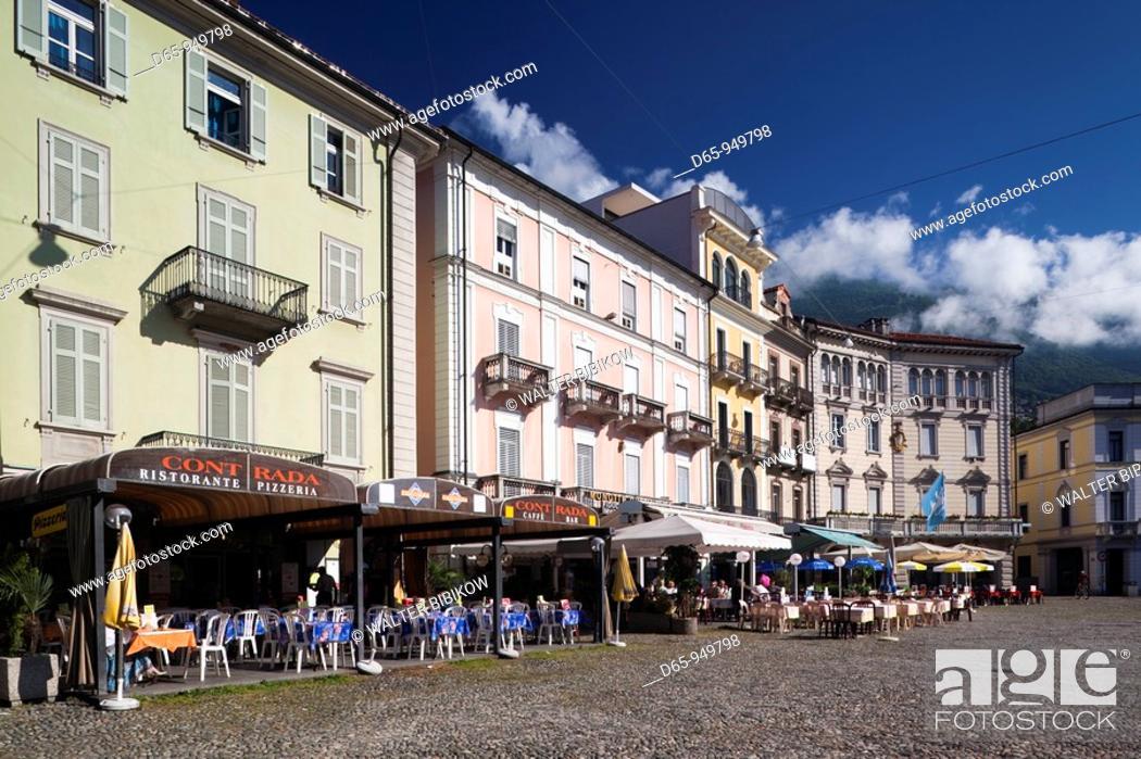 Stock Photo: Switzerland, Ticino, Lake Maggiore, Locarno, Piazza Grande, buildings.