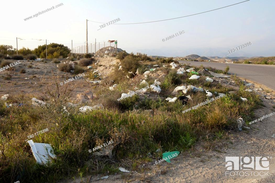 Stock Photo: rural landscape with scattered trash, Andalusia, Spain, Europe.