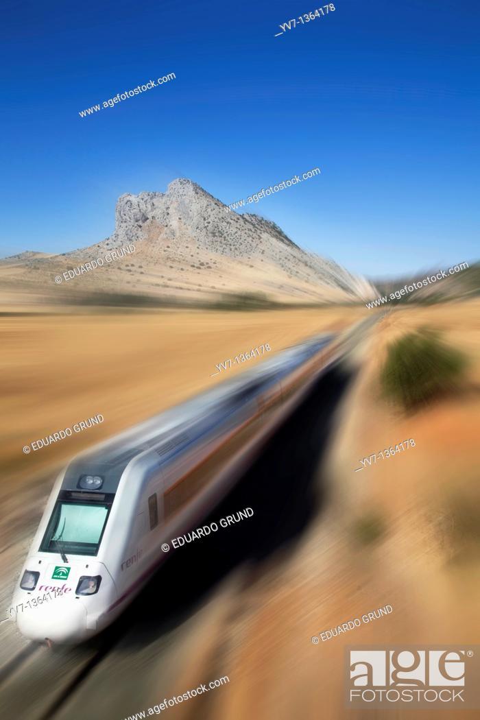 Stock Photo: La Peña de los Enamorados and the train line Antequera - Granada, Antequera, Andalusia, Spain.
