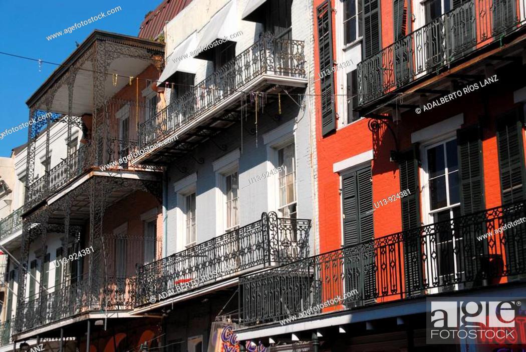 Stock Photo: Bourbon Street, French Quarter, New Orleans, Louisiana, U.S.A., North America.