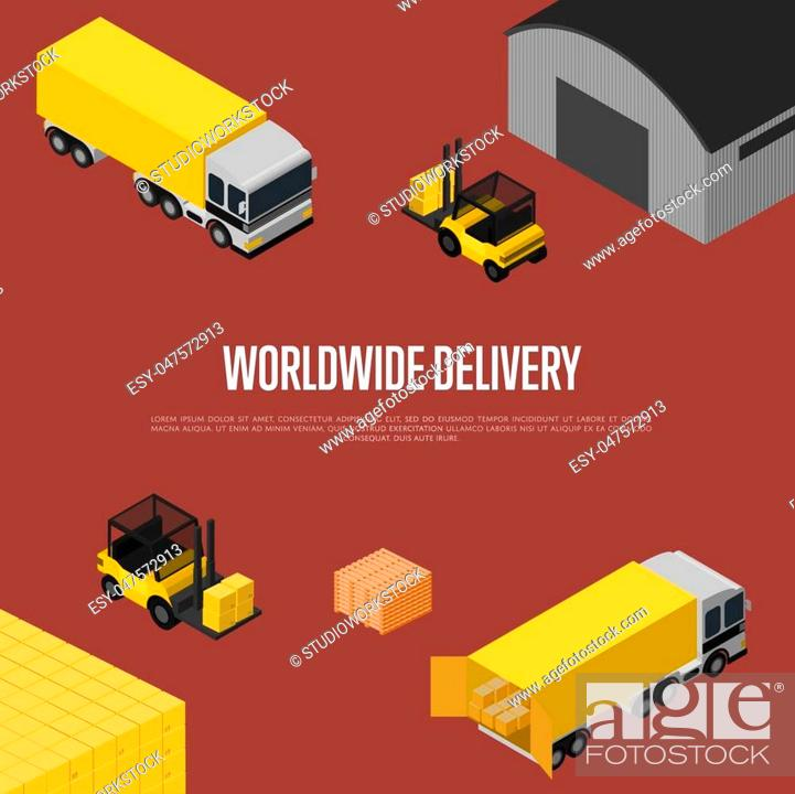 Stock Vector: Worldwide delivery isometric vector illustration. Forklift with packing boxes loading freight truck near warehouse terminal.
