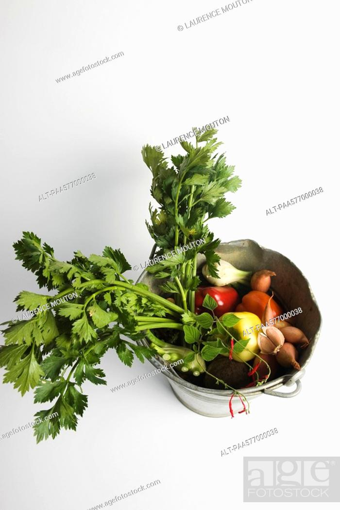 Stock Photo: Celeriac and assorted vegetables in bucket.