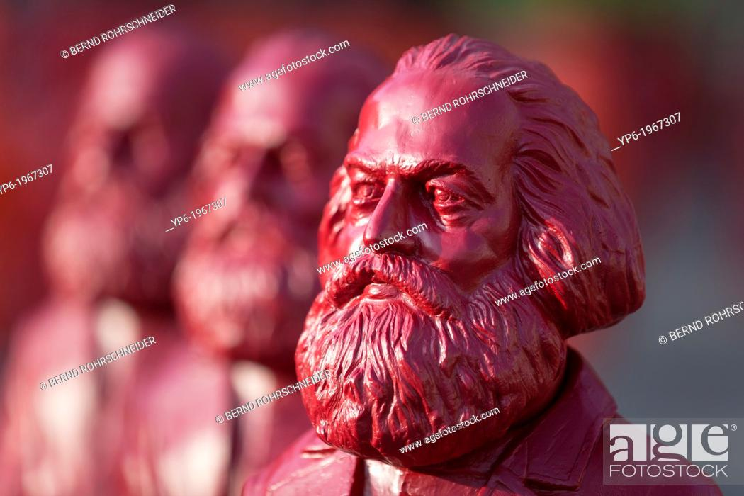 Stock Photo: sculptures of Karl Marx, installation by the artist Ottmar Hörl, Trier, Germany.