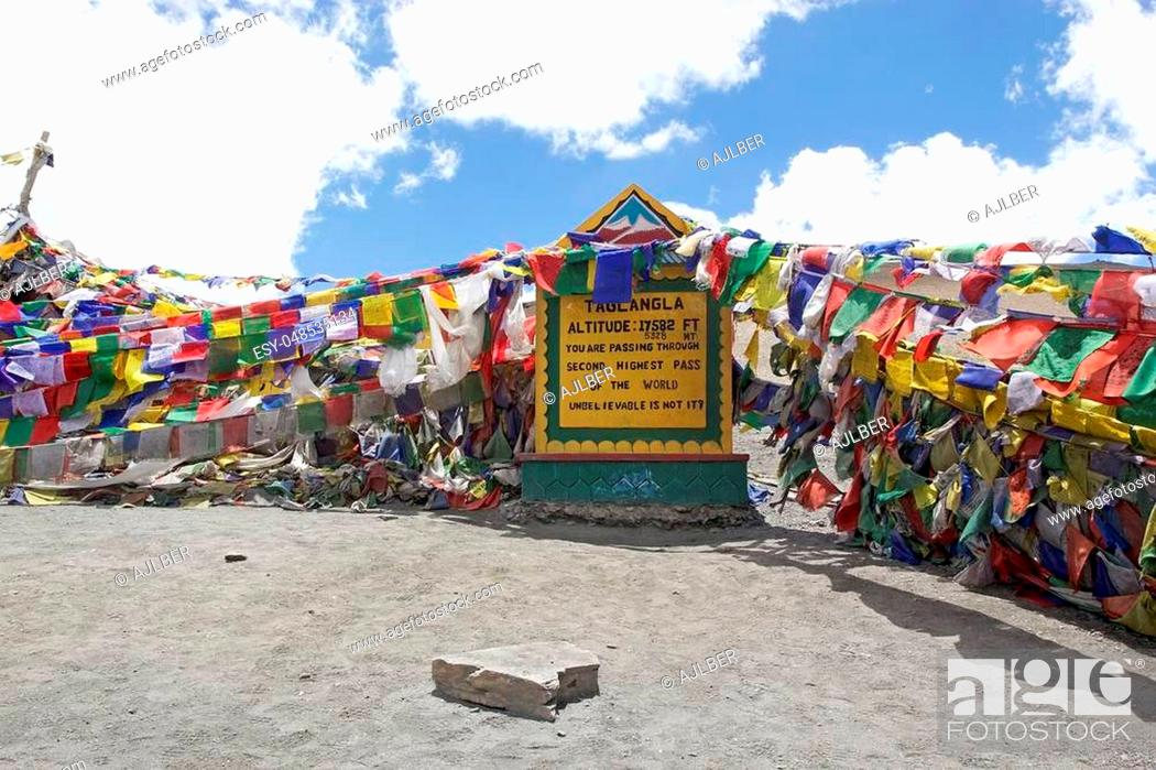 Stock Photo: Prayer flags at the Taglang La mountain pass in Ladakh region in the Indian state of Jammu and Kashmir. The mountain pass is an elevation of 5359 metres.