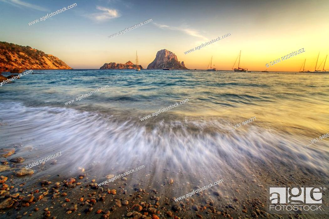 Stock Photo: Sunset in Cala D'hort, Ibiza.