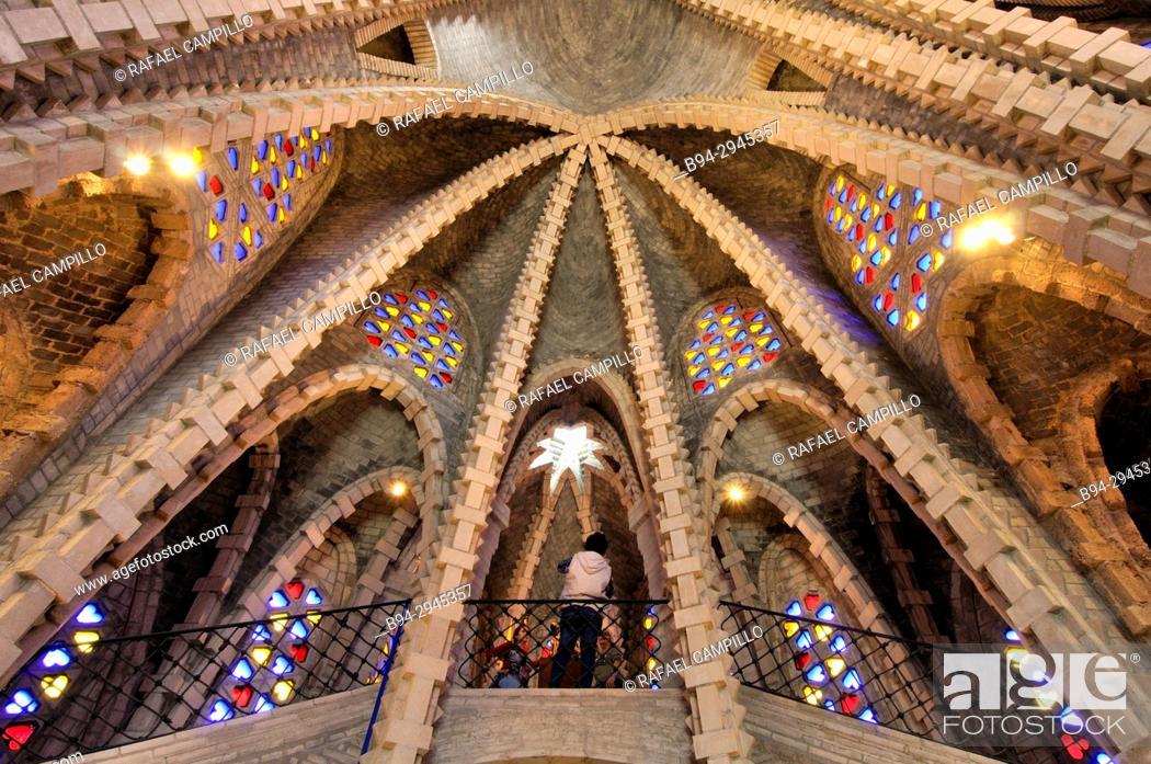 Stock Photo: Sanctuary of Mare de Déu de Montserrat (Our Lady of Monsterrat), a small Modernist church by Josep Maria Jujol. Montferri.