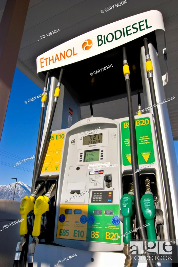 Stock Photo: Biodiesel and Ethanol fuel pumps at retail fuel station, E85 & E10 ethanol, B5, B20 biodiesel, Minden Nevada.