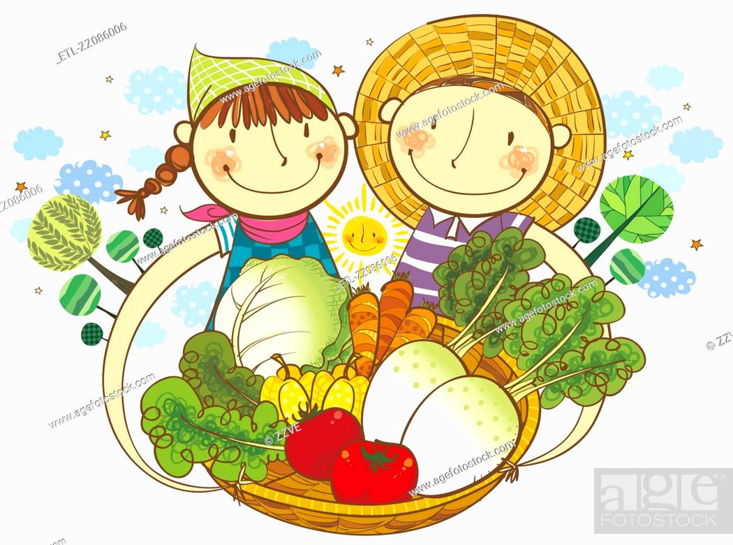 Stock Photo: Boy and Girl holding the basket of vegetable.