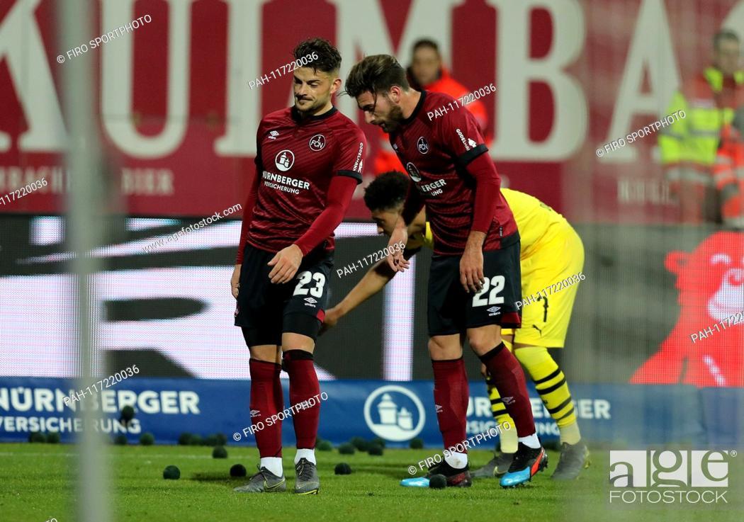 Stock Photo: firo: 18.02.2019, Fuvuball, 1.Bundesliga, season 2018/2019, 1.FC Nvºrnberg - Borussia Dortmund 0: 0, Tim Leibold, Enrico Valentini, 1.