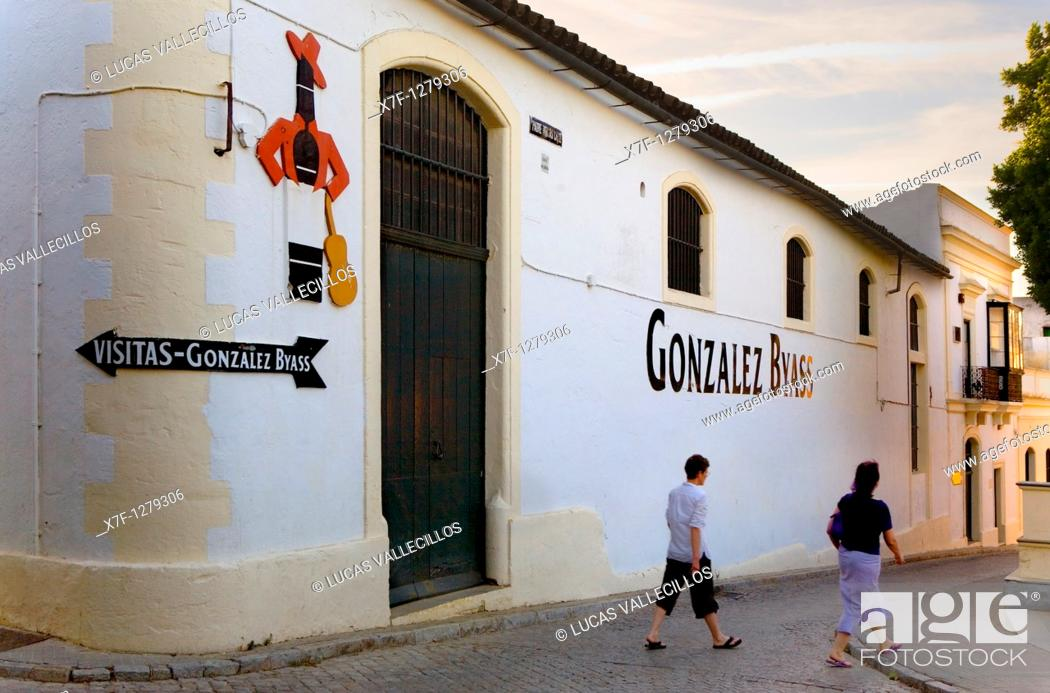 Stock Photo: Exterior of Gonzalez Byass winery Tio Pepe  Jerez de la Frontera  Cádiz province  Spain.