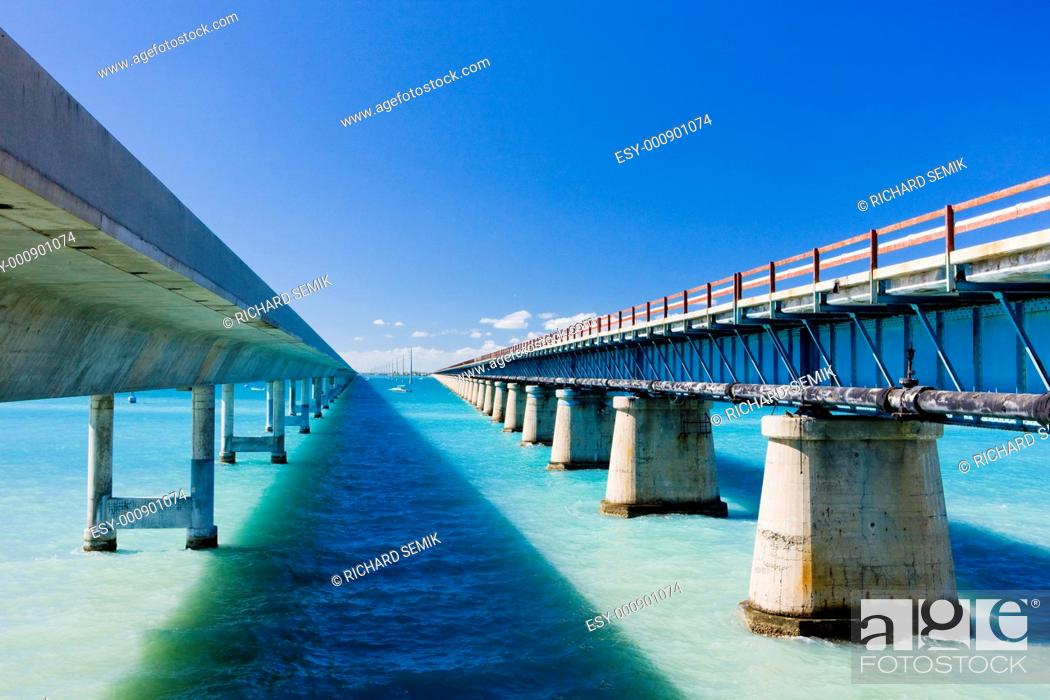 Stock Photo: road bridges connecting Florida Keys, Florida, USA.