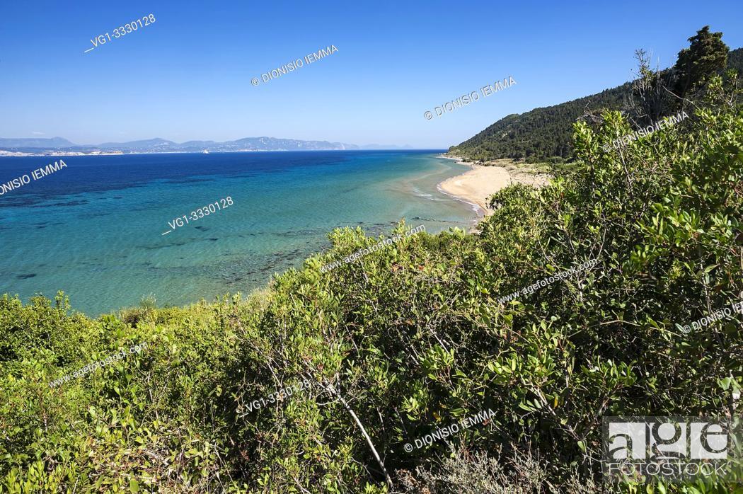 Stock Photo: Mathraki, Greece, Ionian Islands, Europe, Corfu district, Portèlo beach on the eastern side of the island.