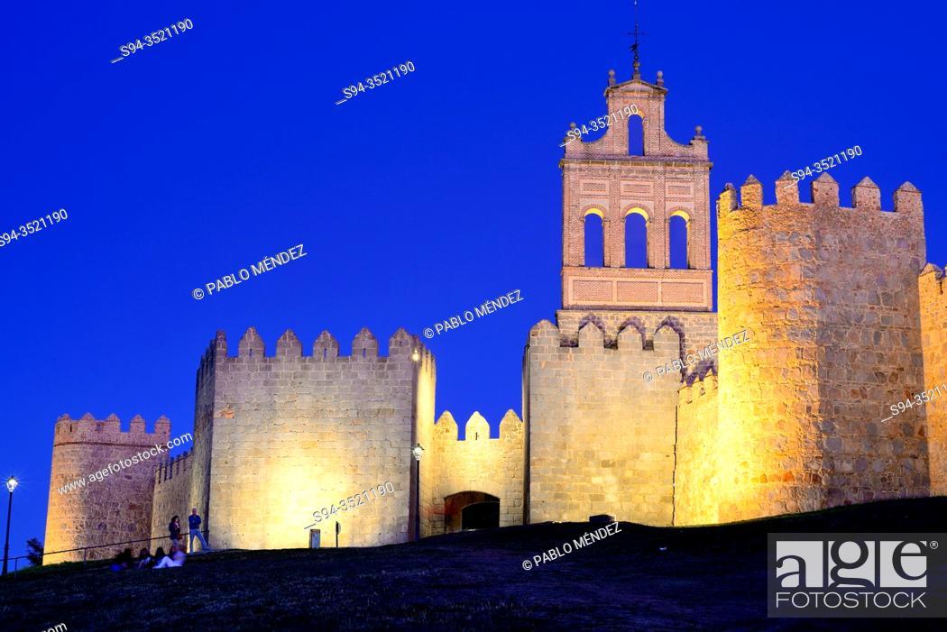 Stock Photo: Church and walls of Avila, Spain.