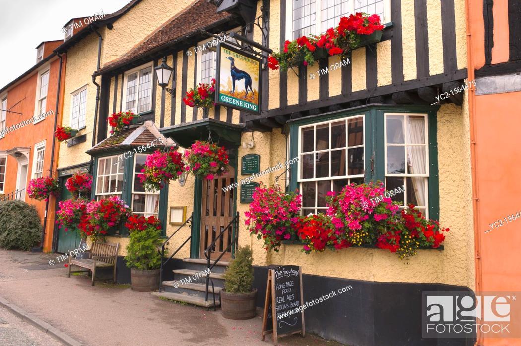 Stock Photo: The Greyhound pub in Lavenham , Suffolk , England , Britain , Uk.