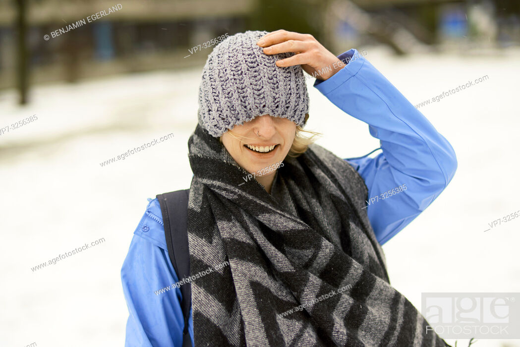 Stock Photo: woman wrapped in winter clothes, in Munich, Germany.