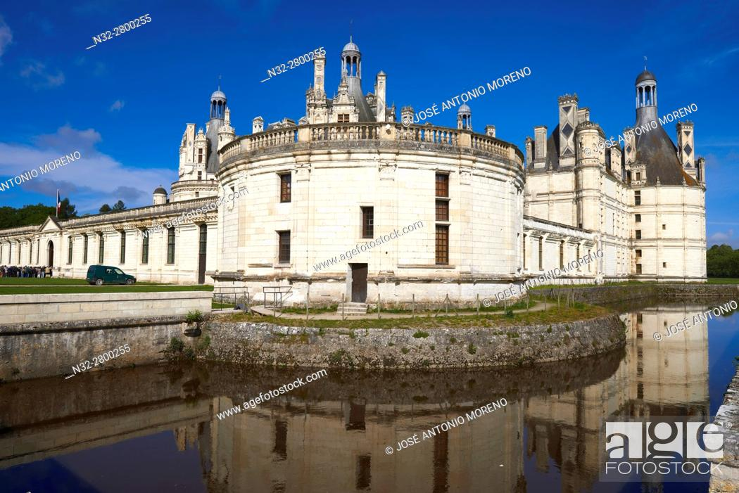 Stock Photo: Chambord, Chambord Castle, Chateau de Chambord, Loir et Cher, Loire Valley, Loire River, Val de Loire, UNESCO World Heritage Site, France.